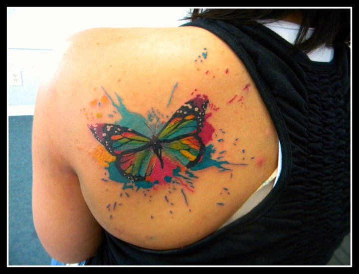 Amazing looking watercolor butterfly tattoo