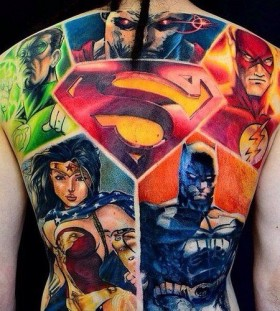 Amazing marvel heroes back tattoo