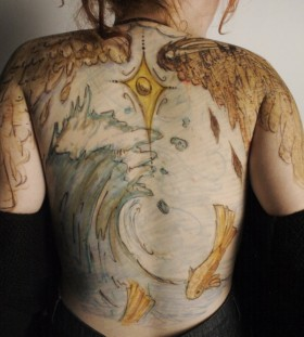 Amazing ocean back tattoo