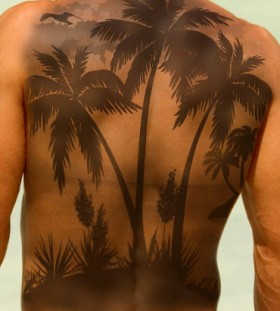 Amazing palm tree back tattoo