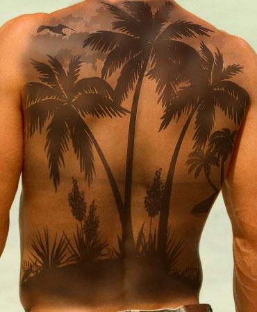Amazing palm tree back tattoo