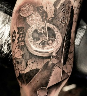 Amazing pocket watch tattoo