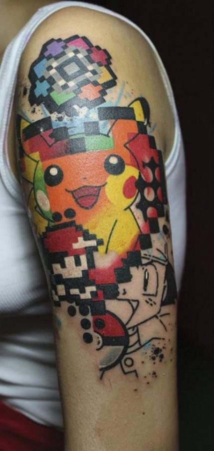 Amazing pokemon arm tattoo