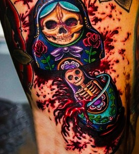 Amazing skeleton matryoshka tattoo