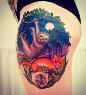 Amazing sloth leg tattoo