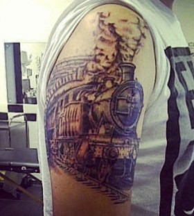 Amazing steaming train arm  tattoo