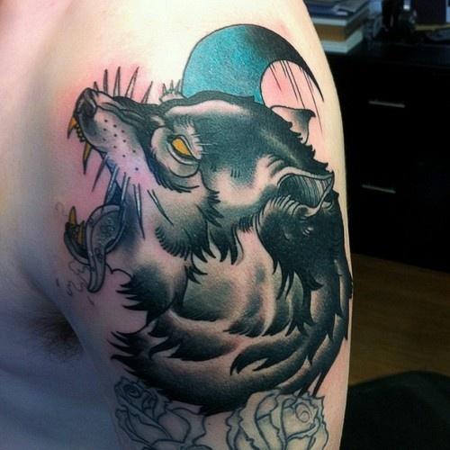 Amazing wolf tattoo by Drew Shallis