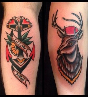 Anchor and deer tattoos by Nick Oaks