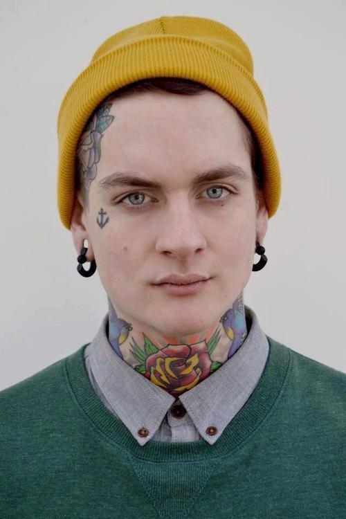 Anchor face tattoo