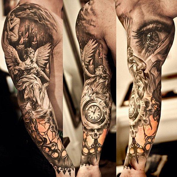 Angel and clock full arm tattoo