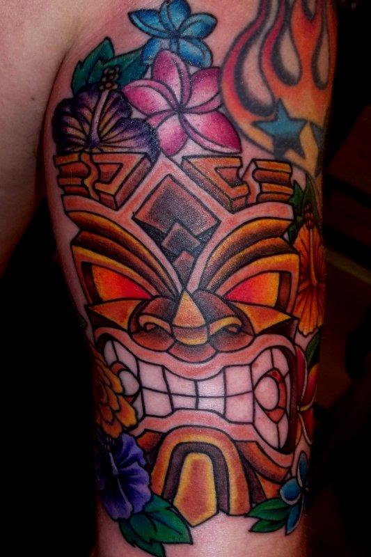 Angry tiki tattoo