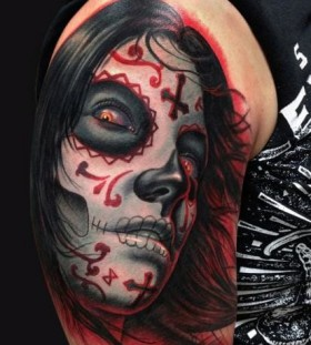 Another scary Santa Muerte tattoo