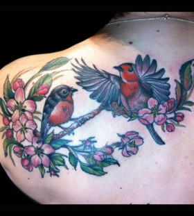 Apple blossom and birds tattoo