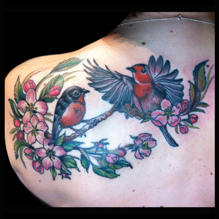 Apple blossom and birds tattoo