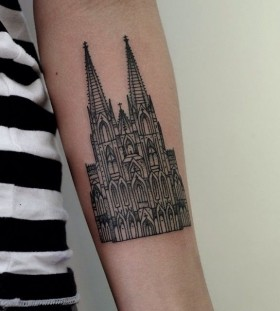 Arm's Gothic style architecture tattoo