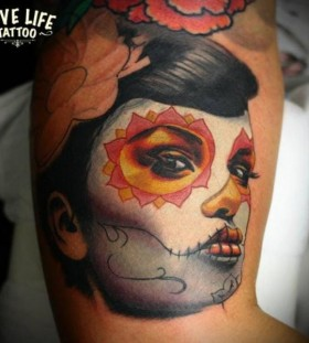 Asian style Santa Muerte tattoo