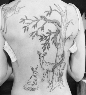 Awesome animals back tattoo
