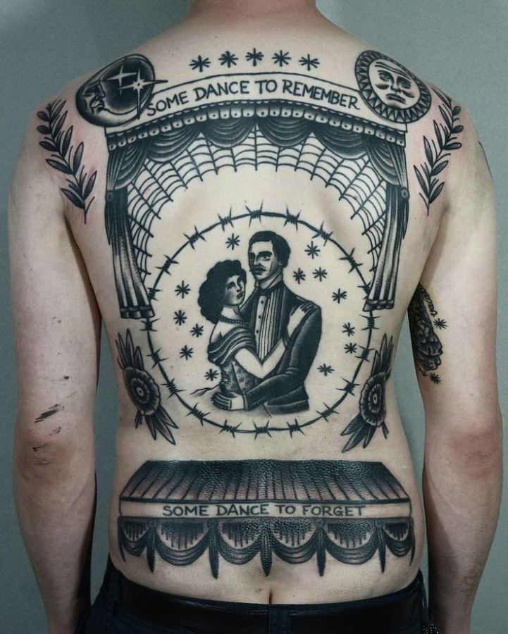 Awesome back tattoo by Philip Yarnell
