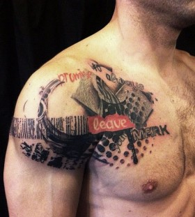 Awesome chest and shoulder tattoo by David Allen