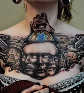 Awesome chest tattoo by Benjamin Laukis