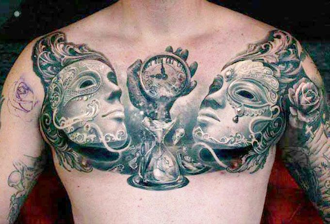Awesome chest tattoo by Ellen Westholm