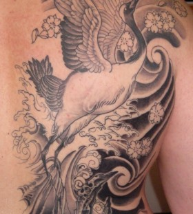 Awesome crane back tattoo