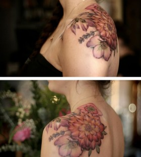 Awesome dahlia shoulder tattoo