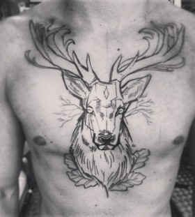 Awesome deer chest tattoo