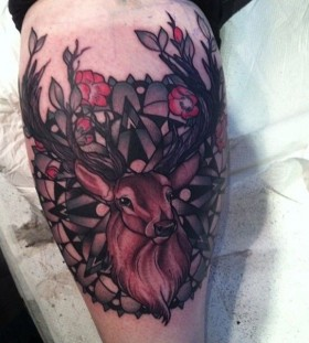Awesome deer tattoo by Flo Nuttall