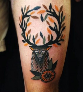 Awesome deer tattoo by Matt Cooley