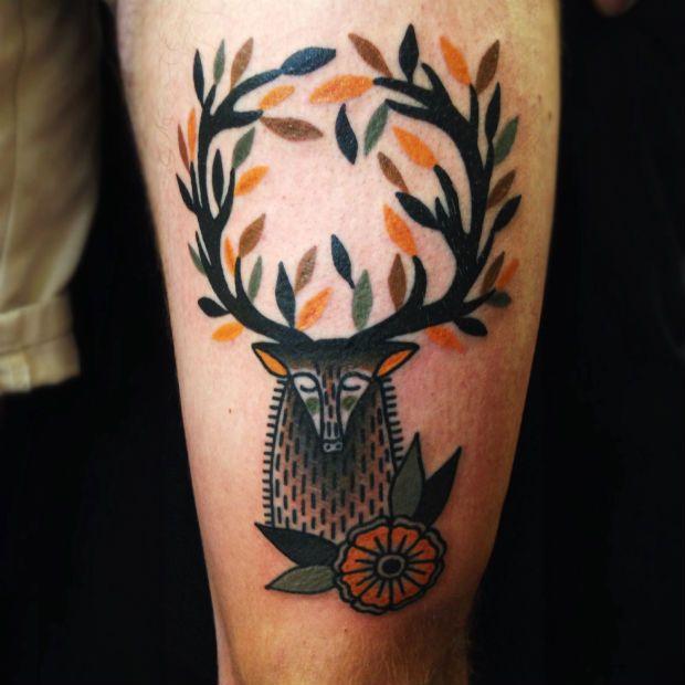 Awesome deer tattoo by Matt Cooley