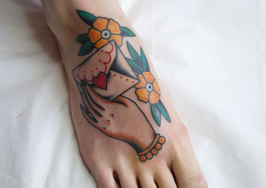 Awesome envelope foot tattoo