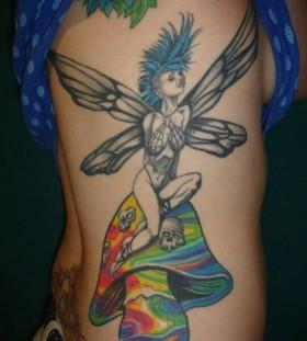 Awesome fairy and colourful mushroom tattoo