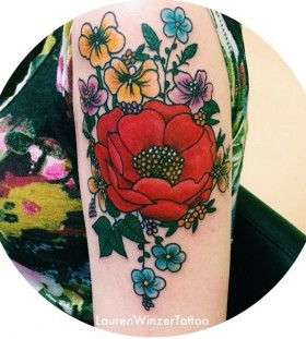Awesome flowers tattoo by lauren winzer
