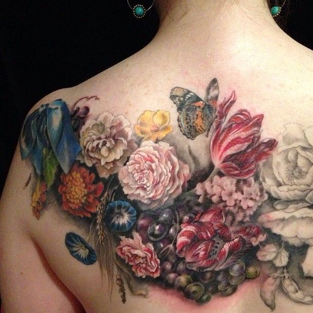 Awesome flowers watercolor butterfly tattoo