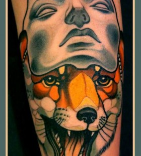 Awesome fox with mask tattoo by Lars Uwe Jensen