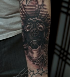 Awesome gas mask tattoo