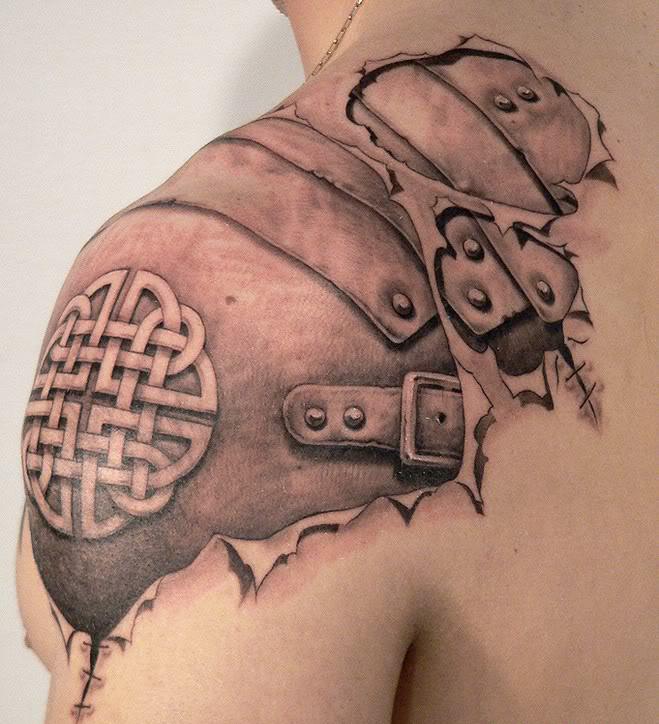 Awesome gladiator armour tattoo