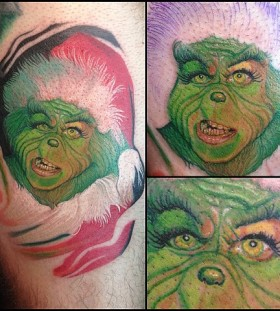 Awesome green grinch christmas tattoo
