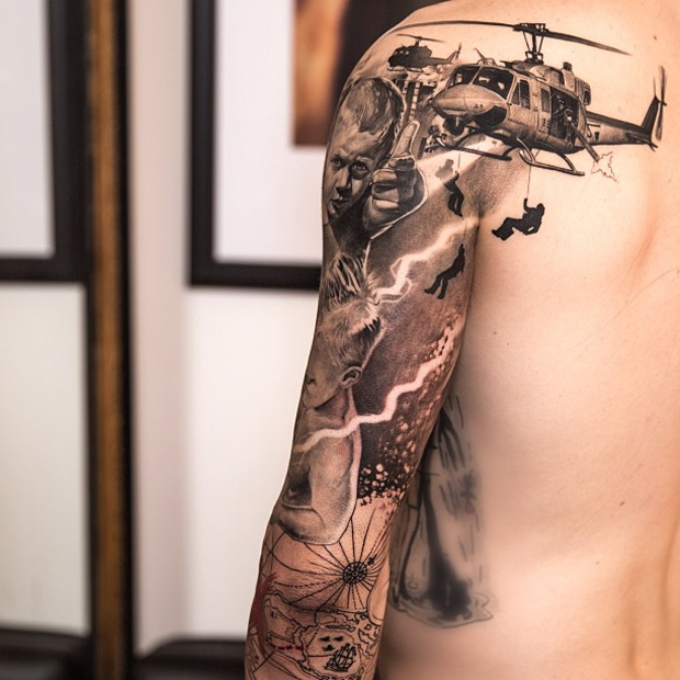 Military theme tattoos