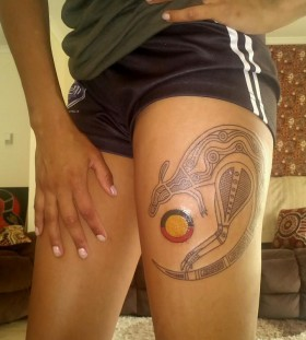 Awesome kangaroo leg tattoo