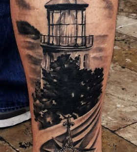 Awesome lighthouse leg tattoo