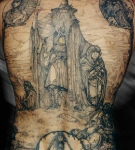 Awesome lord of the rings back tattoo