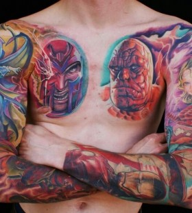 Awesome marvel's characters tattoo