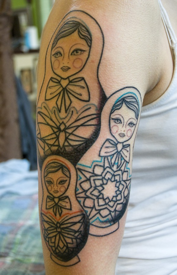 Awesome matryoshkas arm tattoo