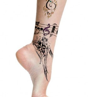 Awesome music notes ankle tattoo