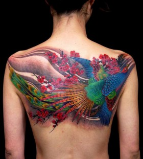 Awesome pheasant back tattoo