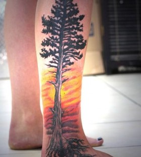 Awesome pine tree and sunset tattoo