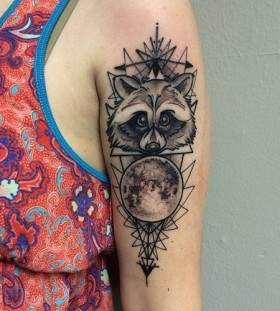 Awesome raccoon arm tattoo