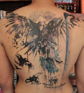 Awesome raven back tattoo